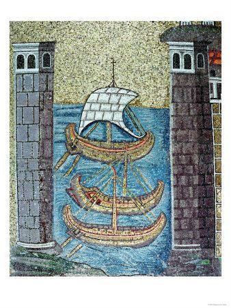 Tre navi entrano nel porto di Ravenna, Particolare dalla navata, Mausoleo di Galla Placidia a Ravenna<br> Acquista questo poster