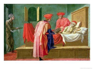 Cosma e Damiano guariscono l'ammalato Francesco di Stefano Pesellino