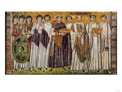 Giustiniano e i suoi ministri con il vescovo Massimiano Acquista questo poster